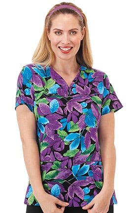 Bio Women's Y-Neck Leaves Print Scrub Top