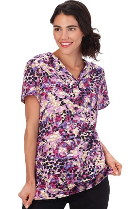 Bio Women's Henley V-Neck Abstract Print Scrub Top