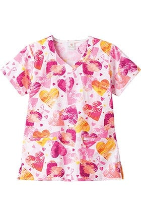 Clearance Trust Your Journey by White Swan Womens V-Neck Bca Print Scrub Top