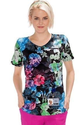 Clearance Bio Women's Mock Wrap Floral Print Scrub Top