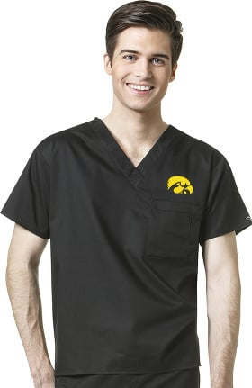 Collegiate by WonderWORK Unisex V-Neck Black Solid Scrub Top
