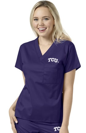 Collegiate by WonderWORK Unisex V-Neck Grape Solid Scrub Top