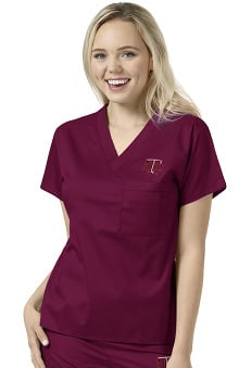Collegiate by WonderWORK Unisex V-Neck Maroon Solid Scrub Top