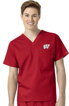 Collegiate by WonderWORK Unisex V-Neck Red Solid Scrub Top