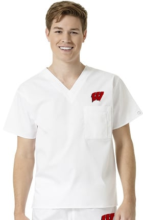 Collegiate by WonderWORK Unisex V-Neck White Solid Scrub Top