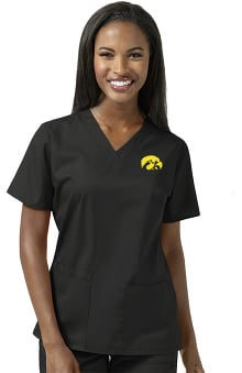 Collegiate by WonderWORK Women's V-Neck Black Solid Scrub Top
