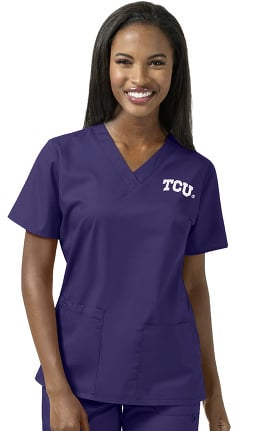 Collegiate by WonderWORK Women's V-Neck Grape Solid Scrub Top