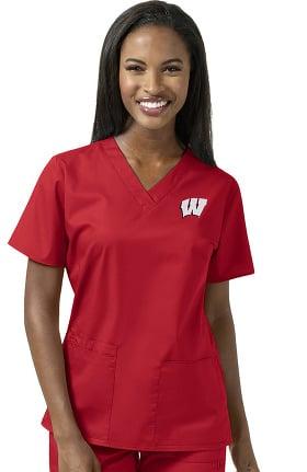 Collegiate by WonderWORK Women's V-Neck Red Solid Scrub Top