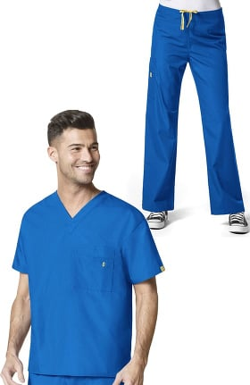 Origins by WonderWink Unisex V-Neck Solid Scrub Top & Drawstring Cargo Scrub Pant Set