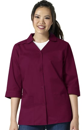 WonderWORK Women's ¾ Sleeve Button Front Solid Smock Scrub Jacket