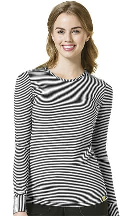 Layers by WonderWink Women's Silky Long Sleeve Stripe Print Underscrub T-Shirt