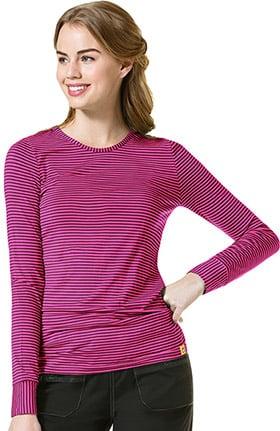 Clearance Layers by WonderWink Women's Silky Long Sleeve Stripe Print Underscrub T-Shirt