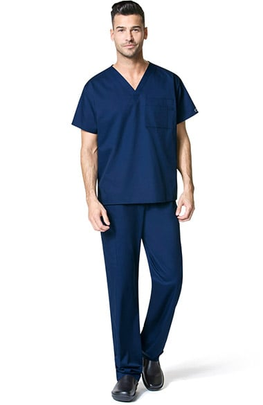 WonderWORK Unisex V-Neck Solid Scrub Top & Drawstring Cargo Scrub Pant Set