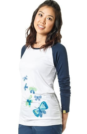 Layers by WonderWink Women's Silky Long Sleeve Butterfly Print Baseball T-Shirt