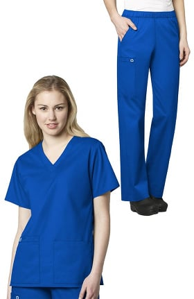 WonderWORK Women's V-Neck Solid Scrub Top & Elastic Waist Scrub Pant Set