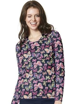 Layers by WonderWink Women's Silky Long Sleeve Butterfly Print T-Shirt