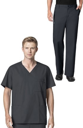 WonderWORK Men's V-Neck Solid Scrub Top & Zip Fly Cargo Scrub Pant Set