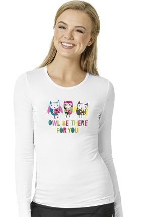 Clearance Layers by WonderWink Women's Silky Long Sleeve Owl Print Underscrub T-Shirt