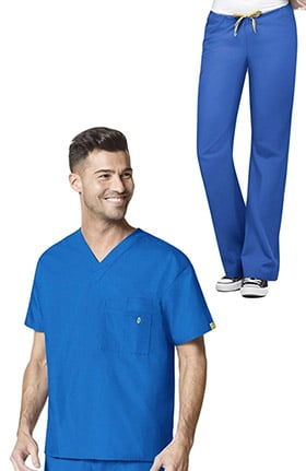 Origins by WonderWink Unisex V-Neck Solid Scrub Top & Pap Drawstring Scrub Pant Set