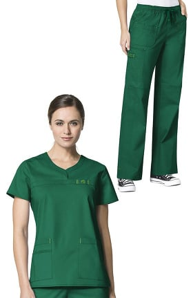 WonderFlex by WonderWink Women's Patience Curved Notch Neck Solid Scrub Top & Faith Drawstr