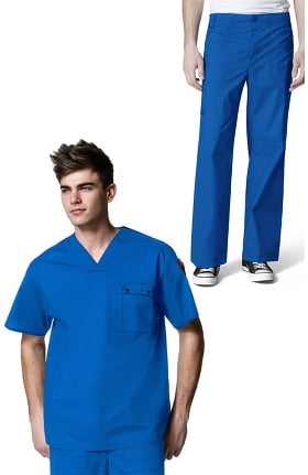WonderFLEX by WonderWink Men's Honor V-Neck Utility Solid Scrub Top & Loyal Utility Zip Fly