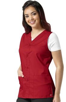 WonderWORK Unisex Button Front Solid Scrub Vest