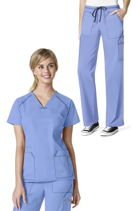 7Flex by WonderWink Women's V-Neck Solid Scrub Top & Elastic Waistband Scrub Pant Set