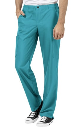 WonderTECH by WonderWink Men's Zip Fly Straight Cargo Scrub Pant
