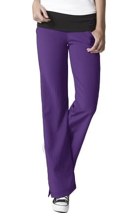 Four Stretch by WonderWink Women's Fold Over Knit Waist Flare Scrub Pant
