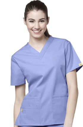 Origins by WonderWink Women's Bravo Lady Fit V-Neck Solid Scrub Top