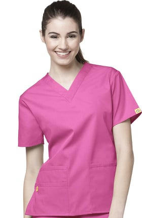 Clearance Origins by WonderWink Women's Bravo Lady Fit V-Neck Solid Scrub Top