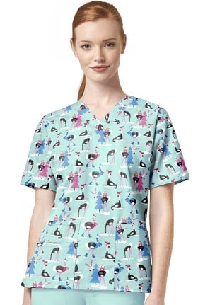 Clearance Origins by WonderWink Women's Hello There Print Scrub Top