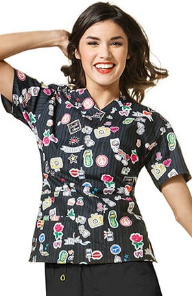 Origins by WonderWink Women's V-Neck Doodle Print Scrub Top