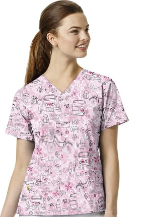 Origins by WonderWink Women's V-Neck Wanderlust Print Scrub Top