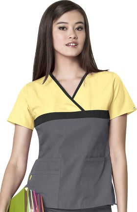 Clearance Origins by WonderWink Women's Charlie Y-Neck Mock Wrap Solid Scrub Top