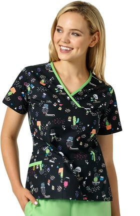 Clearance Origins by WonderWink Women's Y-Neck Mock Wrap Cactus Print Scrub Top