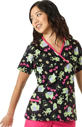 Origins by WonderWink Women's Y-Neck Mock Wrap Frog Print Scrub Top