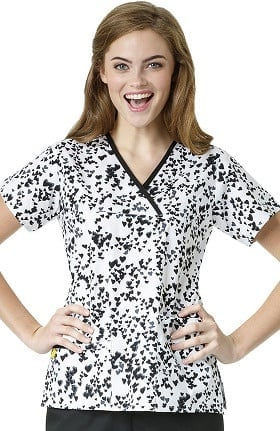 Origins by WonderWink Women's Y-Neck Mock Wrap Heart Print Scrub Top