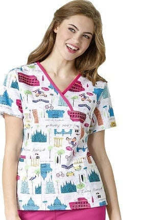 Origins by WonderWink Women's Y-Neck Mock Wrap Rome Print Scrub Top