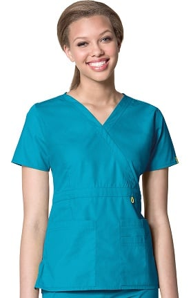 Clearance Origins by WonderWink Women's Golf Mock Wrap Solid Scrub Top