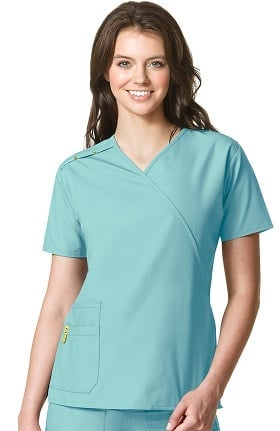 Clearance Origins by WonderWink Women's Juliet Mock Wrap Solid Scrub Top
