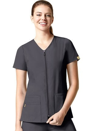 Clearance Origins by WonderWink Women's Kilo Zip Front Solid Scrub Top