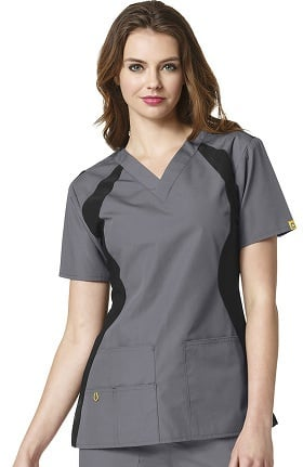 Origins by WonderWink Women's Lima Knit Panel Solid Scrub Top