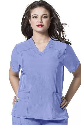 Clearance Plus by WonderWink Women's Curved V-Neck Solid Scrub Top