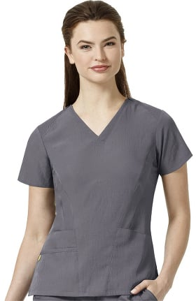 Four Stretch by WonderWink Women's Stylized Flex Solid Scrub Top