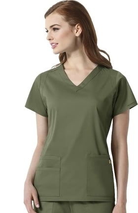 Clearance Next by WonderWink Women's Charlotte V-Neck Solid Scrub Top