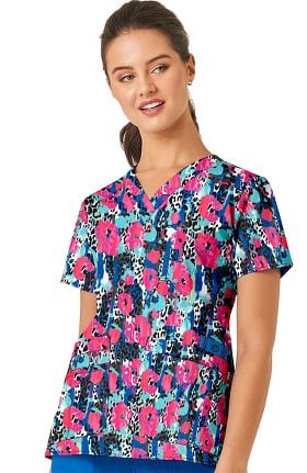 Clearance WonderFLEX by WonderWink Women's Animal Instinct Print Scrub Top