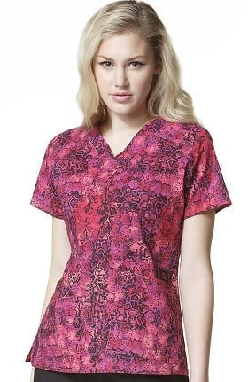 Clearance WonderFLEX by WonderWink Women's V-Neck Animal Print Scrub Top