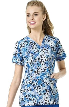 Clearance WonderFlex by WonderWink Women's Sweet Paws Print Scrub Top