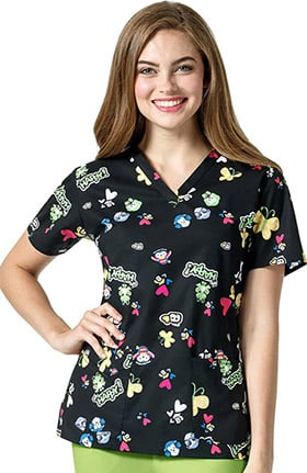I Love WonderWink Women's V-Neck Heart Print Scrub Top